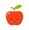cute happy apple with eyes and face vector image