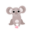 cute koala bear sitting with pink heart funny vector image vector image