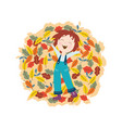 cute smiling kid with autumn colorful tree leaves vector image vector image