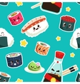 cute sushi seamless pattern vector image
