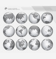 Dotted digital earth globes set
