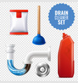 drain cleaner transparent icon set vector image vector image