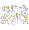 drawn office theme icons set vector image vector image