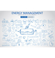 Energy management with Doodle design style power vector image