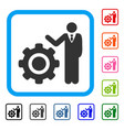engineer and gear framed icon vector image vector image