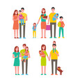 family couples and kids set vector image vector image