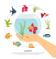 fish bowl hand composition vector image