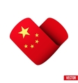 Flag icon in the form of heart I love China vector image vector image