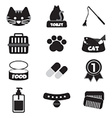 Flat Design Cat Black Icon Set vector image vector image