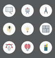 flat icons scheme case compass and other vector image vector image