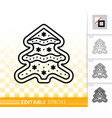 gingerbread cookie christmas tree line icon vector image vector image