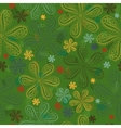 Green floral seamless pattern Colorful flowers vector image vector image