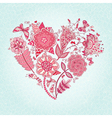 greeting card with Heart of flowers vector image vector image
