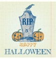 Halloween doodle with pumpkins and tombstone vector image vector image