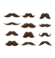 Hand drawn mustache set isolated on white vector image
