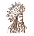 injun or indian native american in feather hat vector image