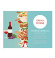 italian cuisine food banner with cooking pizza vector image