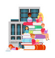 library with studying different nationality vector image