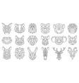 linear polygonal animal bear snake dog geometric vector image vector image