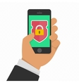 Mobile security app on smartphone screen vector image vector image