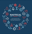 nautical sea travel round design template line vector image vector image