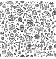 pattern happy halloween with doodle elements vector image vector image