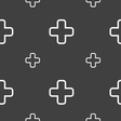 Plus icon sign Seamless pattern on a gray vector image vector image