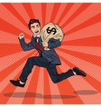 Pop Art Businessman Escapes Taxes with Money Bag