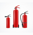 realistic detailed 3d fire extinguisher set vector image vector image