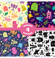 seamless patterns set with cute cartoon monsters vector image vector image