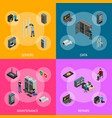 server hardware banner set isometric view vector image