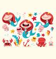 set cute mermaid and sea animals vector image