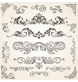 set of Swirl Elements and Corners for vector image vector image