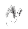 sketch of woman reading book vector image vector image