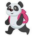 small panda animal walking with backpack to school vector image