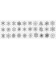 snowflakes hand drawn doodle set vector image vector image
