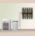 solid fuel boiler with accumulator tank vector image vector image