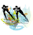 speed ice skaters at colorful ice rink vector image vector image
