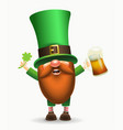 st patrick s day irish gnome with clover and beer vector image vector image