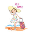 summer travel card background lettering hello vector image