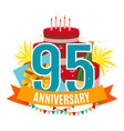 template 95 years anniversary congratulations vector image