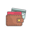 wallet and credit cards single line icon on white vector image vector image