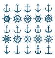 wheels ship anchors icon steering boat vector image