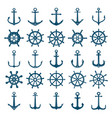 wheels ship anchors icon steering wheels boat and vector image