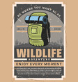 wildlife backpacking adventure hiking sport club vector image vector image
