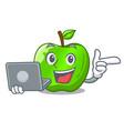 with laptop cartoon of big shiny green apple