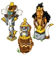 Wolf tiger and eagle Indian totem masks vector image