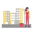 woman construction roller painting and bucket vector image vector image