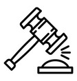 wood gavel icon outline style vector image