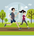 young man and woman jogging in park vector image
